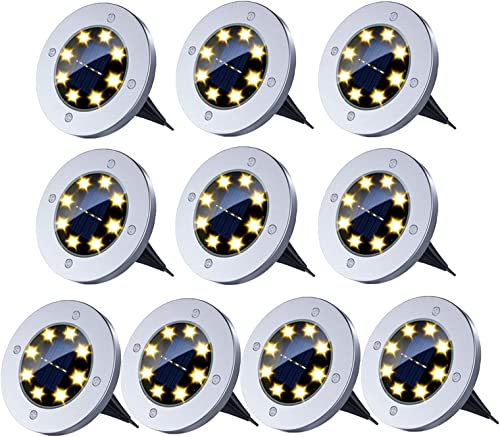 Solar Ground Lights,8 LED Solar Garden Lights Outdoor Waterproof In-Ground Lights Landscape Lights for Patio Pathway Lawn Driveway Walkway 10 Packs Warm White