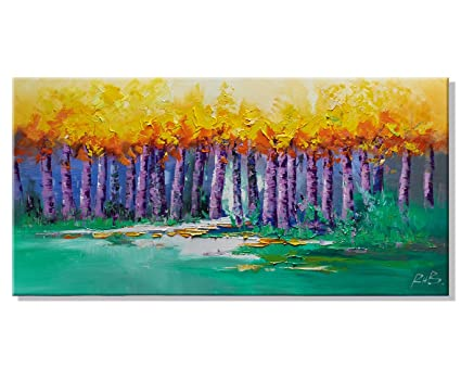 Oil Painting Canvas Wall Art Summer Autumn Landscape Color Tree Picture Prints Modern Giclee Artwork