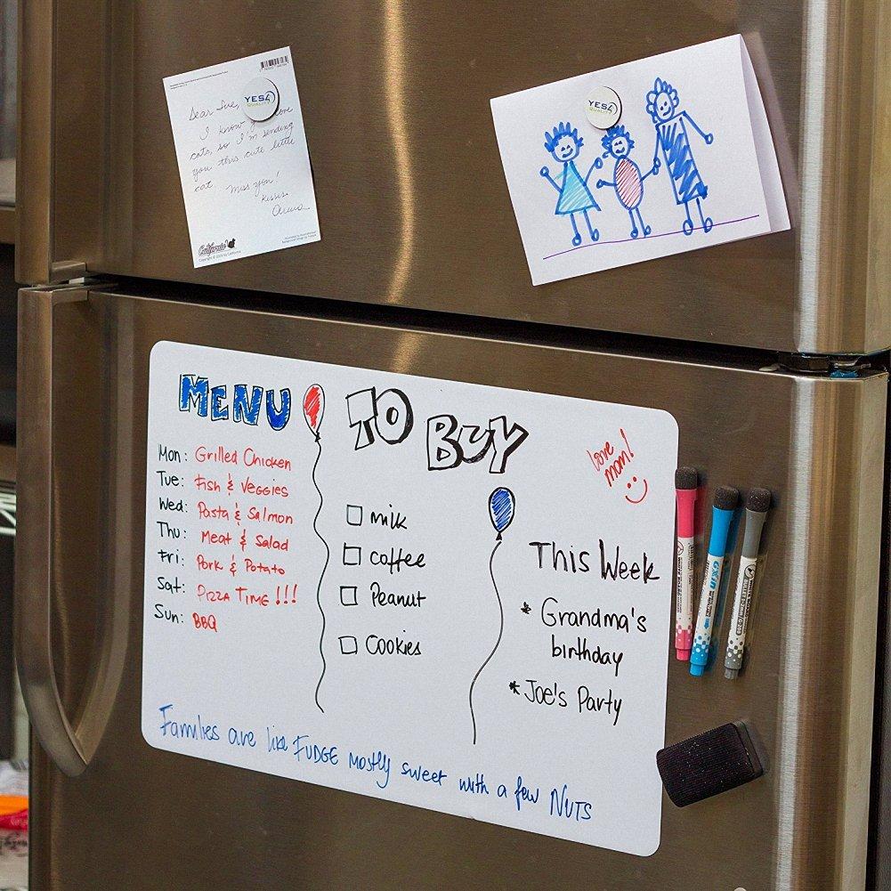JOYTOUR Magnetic Dry Erase Board for Fridge 17 x 11 Messages To Do Whiteboard for Refrigerator
