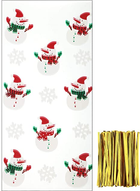 New CHRISTMAS CELLO PARTY GIFT BAGS 25 Count TREAT BAGS with Ties ~ Snowmen