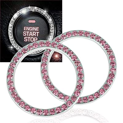 EJ's SUPER CAR Crystal Rhinestone Car Bling Ring Emblem Sticker, Crystal Rhinestone Bling Car Accessories for Auto Start Engine Ignition Button Key & Knobs, Bling for Car Interior(2 Pack): Automotive