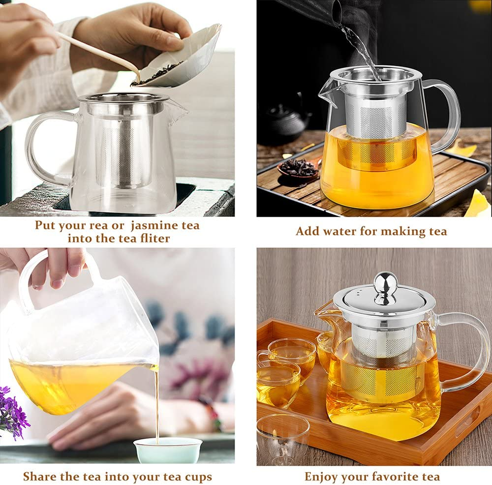 AckMond 950 ml Klarglas Teekanne mit rostfreiem Stahl und Deckel mit Holzachterbahn Glas Tee-T/öpfe