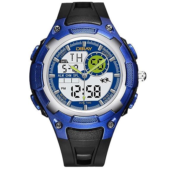 Hombre Relojes digitales,Pantalla doble Impermeable Réplica luminosa Aire libre Relojes deportivos Natación puede ser