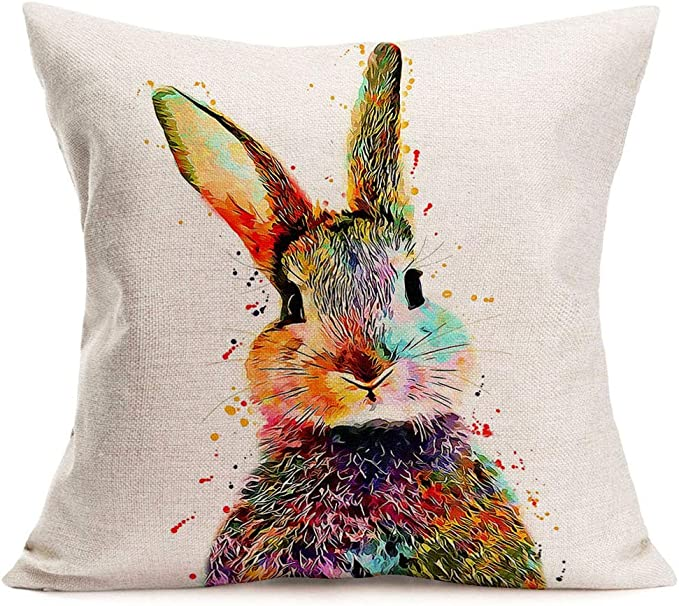 Colourful Hare Bunny Rabbit Wild Life cushion cover 16 by 16 inches cotton