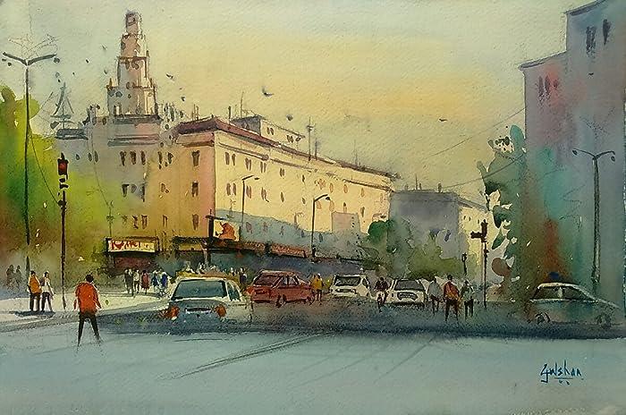 the evening light watercolor painting by gulshan achari gulshan