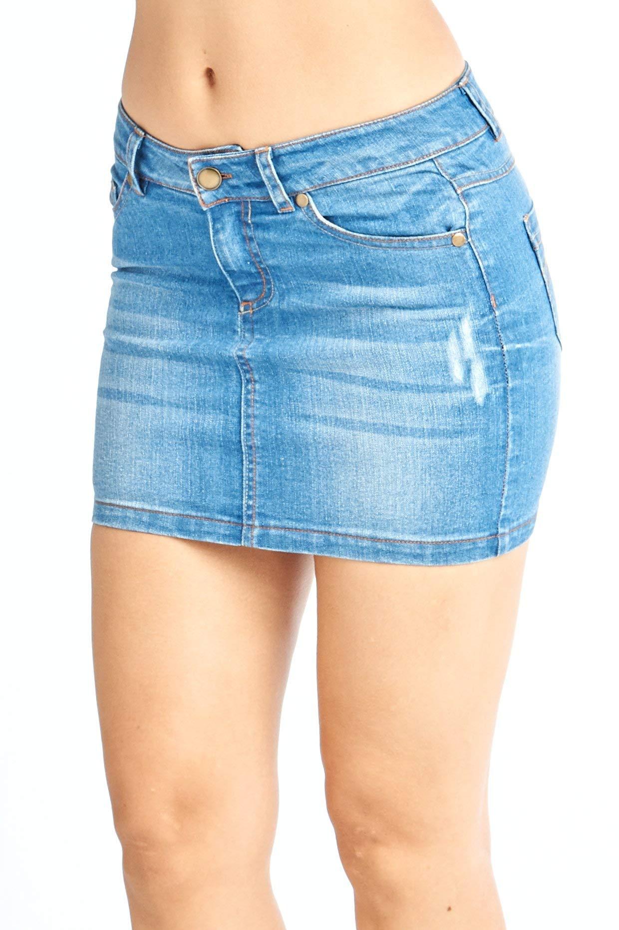 Women's Jeans Denim Mini 5 Pocket Skirts Juniors 5