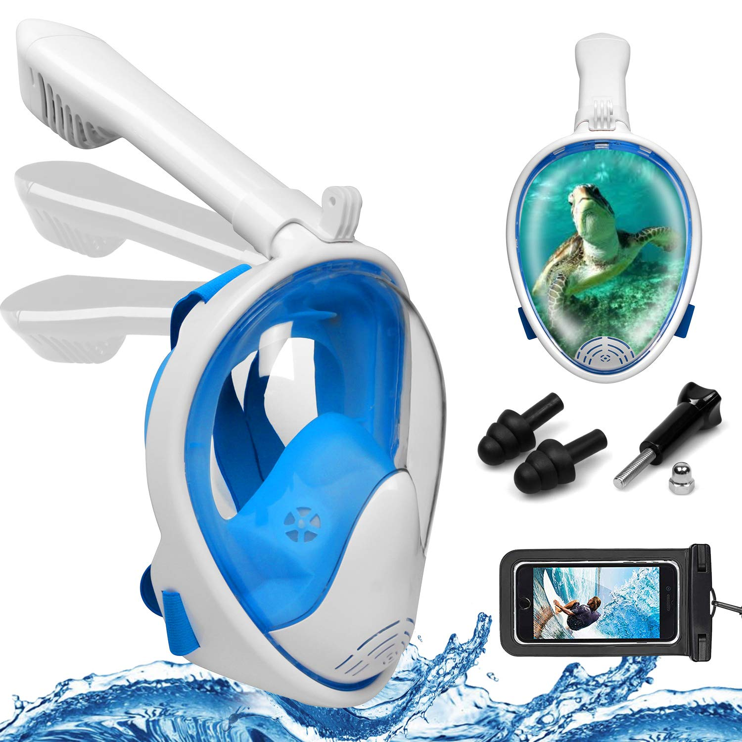Foldable Full Face Snorkel Mask, 180° Panoramic View Scuba Diving Mask Perfect for Kids Swimming & Adult Diving (S/M, Blue)