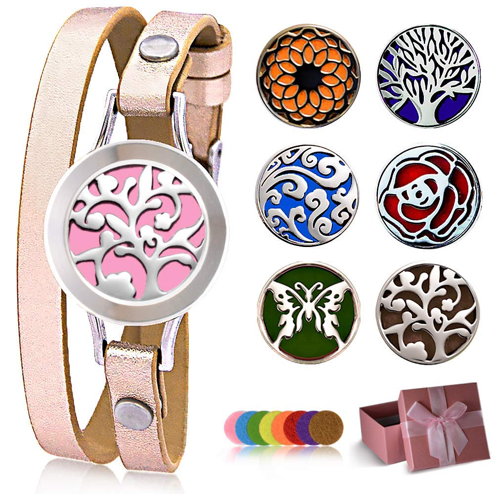 Carmel Essential Oil Diffuser Bracelet, 48 styles from 6 Faces 8 Color Pads (Extended Edition), Stainless Steel Aromatherapy Locket Bracelets Leather Band Rose Gold, Jewelry Gift Set for Women Girls. by Carmel