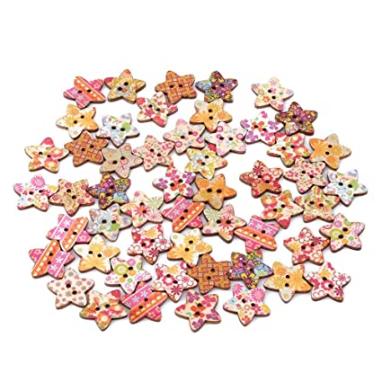 50pcs Mixed Wooden Star Shape Buttons 2 Holes for Sewing Scrapbooking 25mm