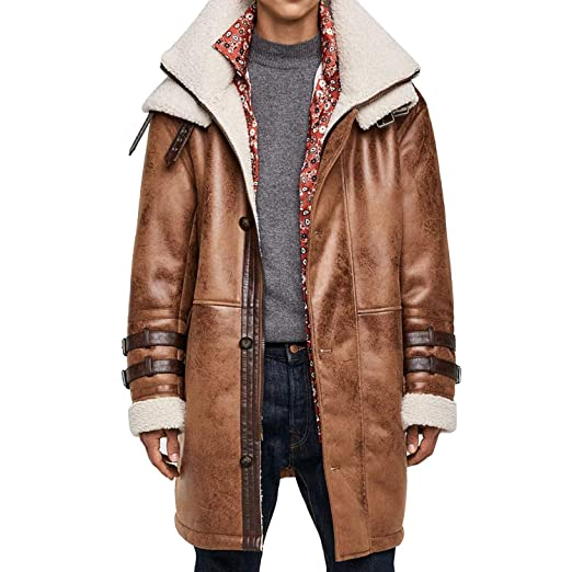 c9e2e23c3 Ennovative Selection Men s Distressed Brown Double Sided Shearling ...