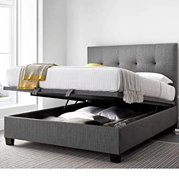Magnificent Grey Fabric Ottoman Storage Bed Happy Beds Yorkie Grey Fabric Modern Bed 5Ft Uk King 150 X 200 Cm Frame Only Ocoug Best Dining Table And Chair Ideas Images Ocougorg