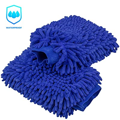 anngrowy Car Wash Mitt 2 Pack - Extra Large Size Clean Tools Kits- Premium Chenille Microfiber Winter Waterproof Cleaning Mitts Sponge - Washing Glove with Lint Free & Scratch Free: Automotive