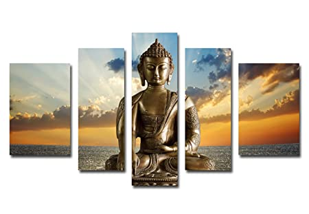 Funpark Framed Modern Buddha Print on Canvas 5 Panels Abstract Wall Art Painting Stretched and Ready to Hang