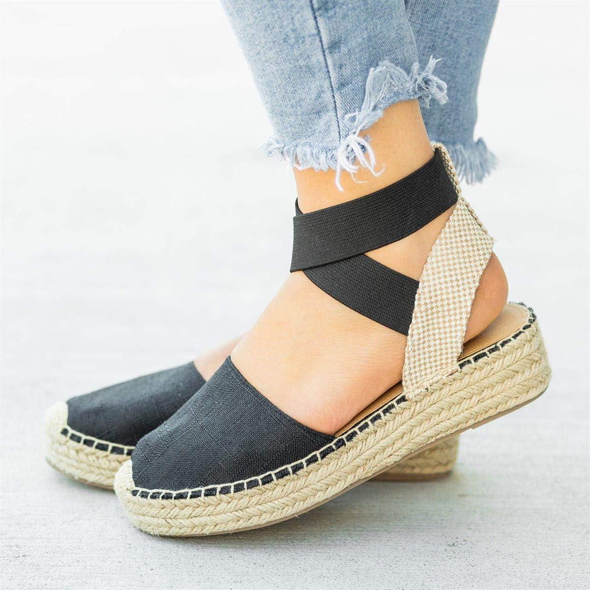 JFFFFWI Sandalias para Mujer Alpargatas Verano Sandalias Planas con Punta Cerrada Sandalias de tacón Alto con Tiras Cruzadas Tejido Sandalias de Fondo Grueso Zapatos cómodos para Caminar en la Playa