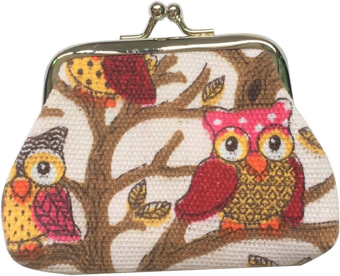 Lovely Owls Pattern Coin Purse- Mini Owl Design Clasp Pouch Wallet Key Bags Money Bag, Perfect Present for Purses Women Girls Wallets Buckle Party Favors