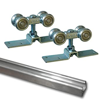 Juego de - puerta rodillo ruedas para puertas hasta que deslizante a su montaje suspendido 90 kg de aluminio barra deslizante de 3 m (30074 + 080): ...