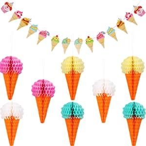 Maitys 9 Pieces Hanging Ice Cream Honeycomb Ball Tissue Paper Ice Cream Banner for Wedding Birthday Decoration