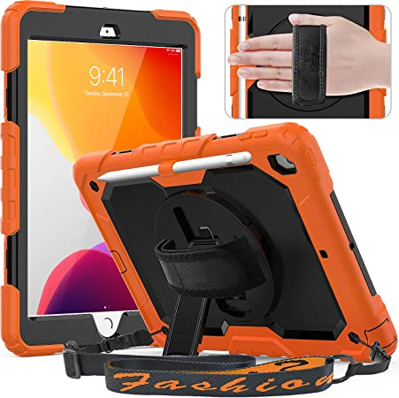 Amazon Com Timecity Ipad 8th 7th Generation Case Ipad 10 2 Case 2020 2019 With Screen Protector Pencil Holder Rotating Kickstand Hand Shoulder Strap Durable Protective Cover For Ipad 10 2 Inch Black Orange Computers Accessories