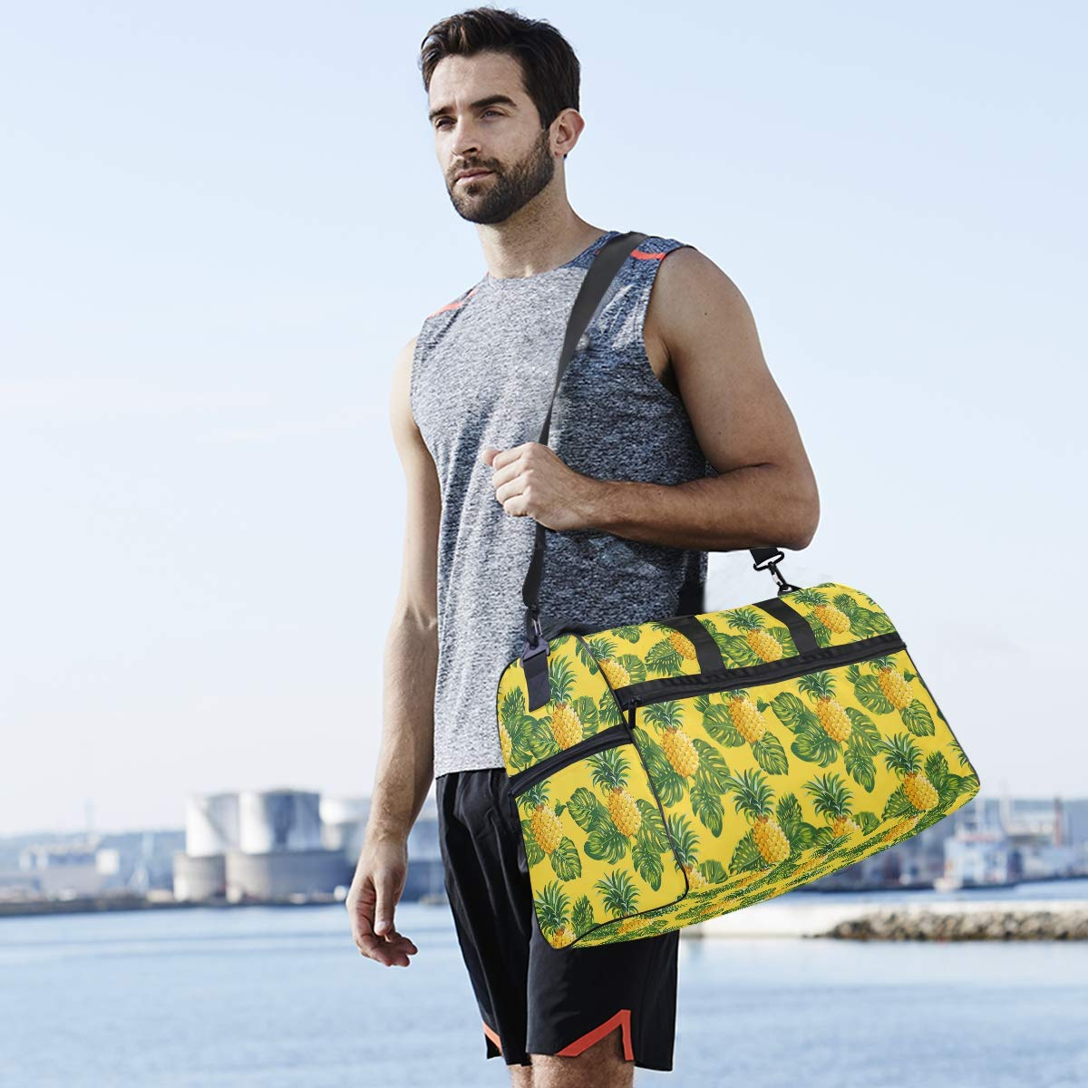 Oarencol Yellow Pineapples Palm Tropical Green Leaves Summer Painting Travel Duffel Bag Overnight Weekender Bag with Shoes Compartment for Men Women