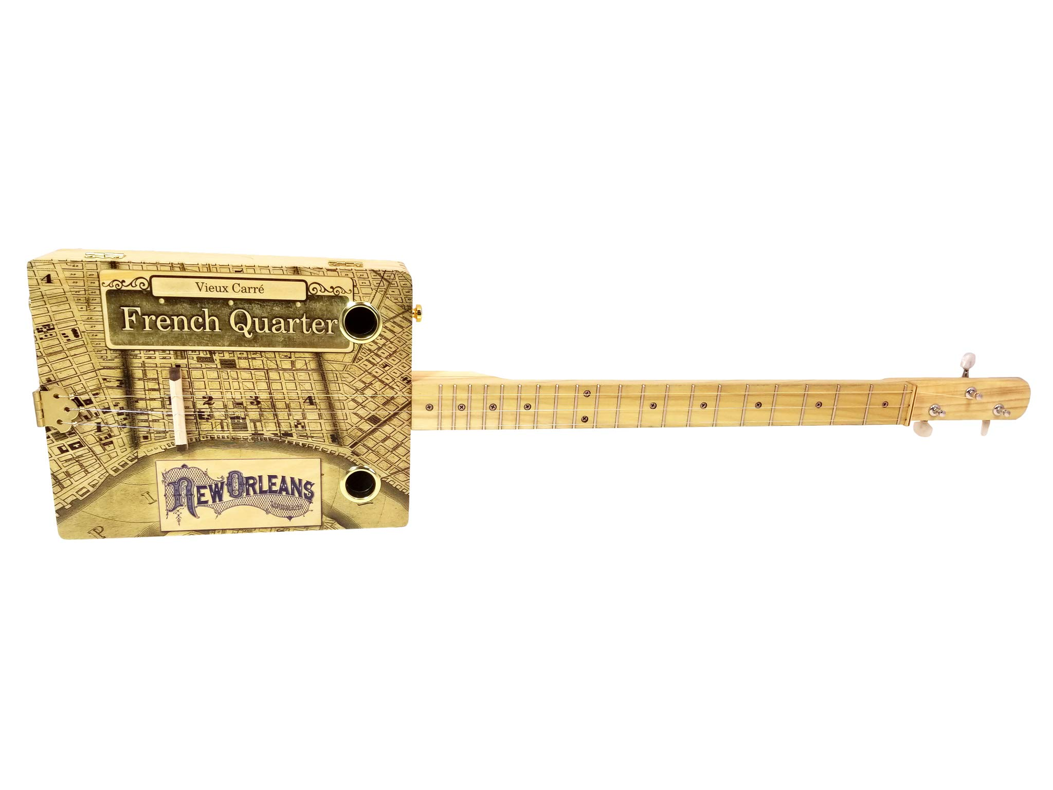 ''French Quarter'' 3-string Acoustic-Electric Cigar Box Guitar - Fun to Play, Made in the USA!