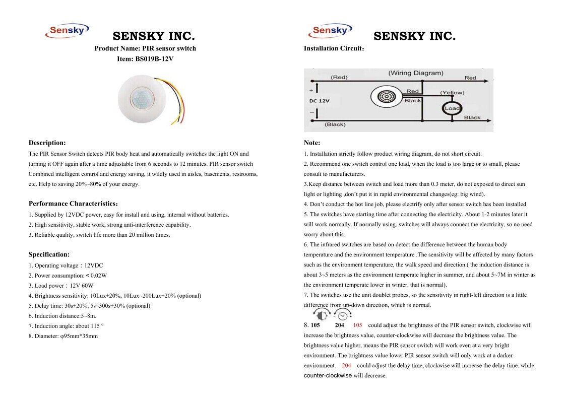 Sensky Bs019b Dc 12v Corridor Toilets Human Body Infrared Detector Pir Sensor Wiring Instructions Motion Switch Wired Ceilingpir Induction Light