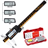GlowGeek CD-6-150 Quality Electronic Digital Vernier Caliper Inch/Metric/Fractions Conversion 0-6Inch/150mm Stainless Steel Body Orange/Black Extra Large LCD Screen Auto Off Featured Measuring Tool