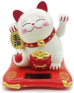 Cafolo Solar Energy Powered White Maneki Neko Beckoning Lucky Money Cat for Home Office and Car décor