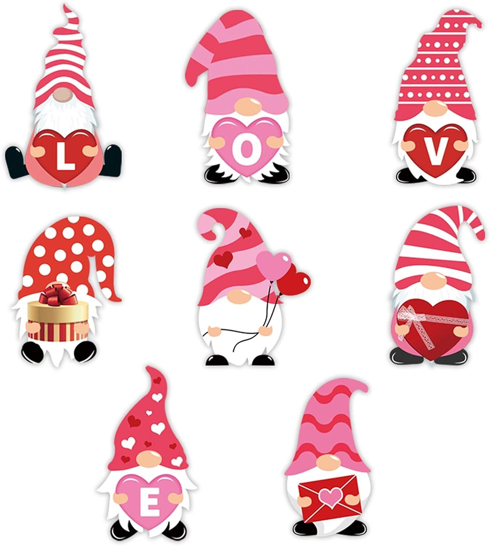 Valentine Decorative Yard Signs Outdoor Lawn Stakes for Valentines Day Decorations 8PCS Valentines Day Yard Gnome Signs Stakes Decorations A
