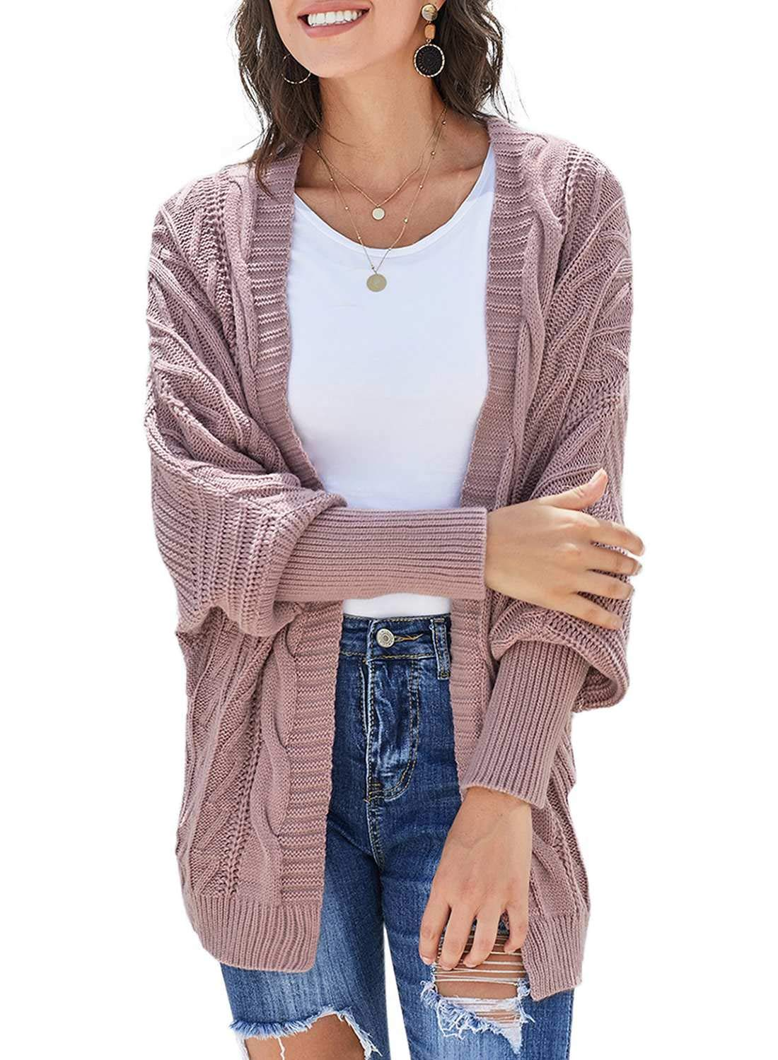 Dearlove Womens Oversized Batwing Sleeve Open Front Chunky Cable Knit Cardigan Sweaters Outerwear Winter Cozy Coat Small Pink by Dearlove