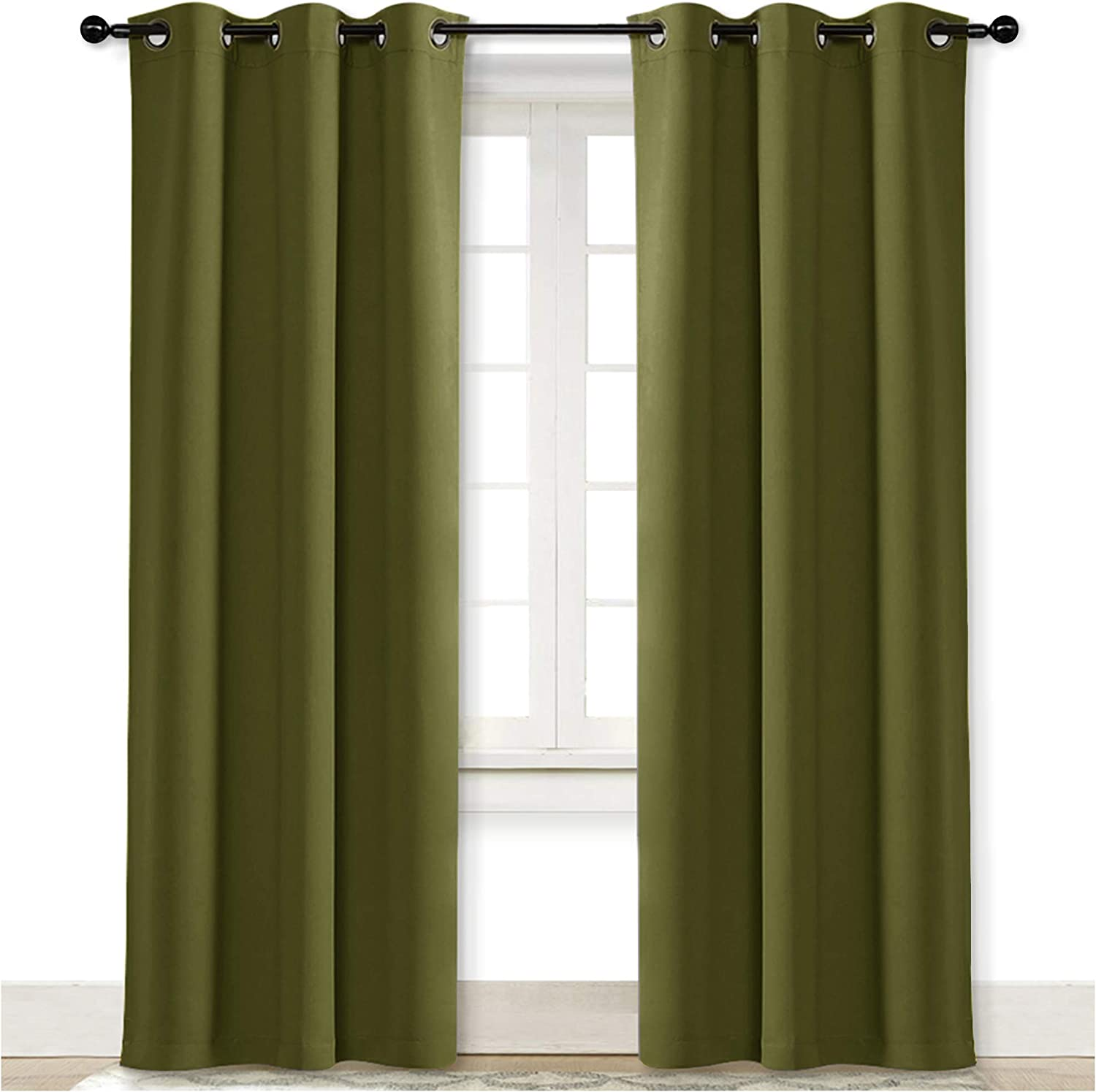 NICETOWN Blackout Room Darkening Window Curtain Thermal Insulated Solid Grommet Blackout Curtain/Drape for Living Room on Christmas & Thanksgiving (Single Panel, 42 by 84 inches, Olive Green)