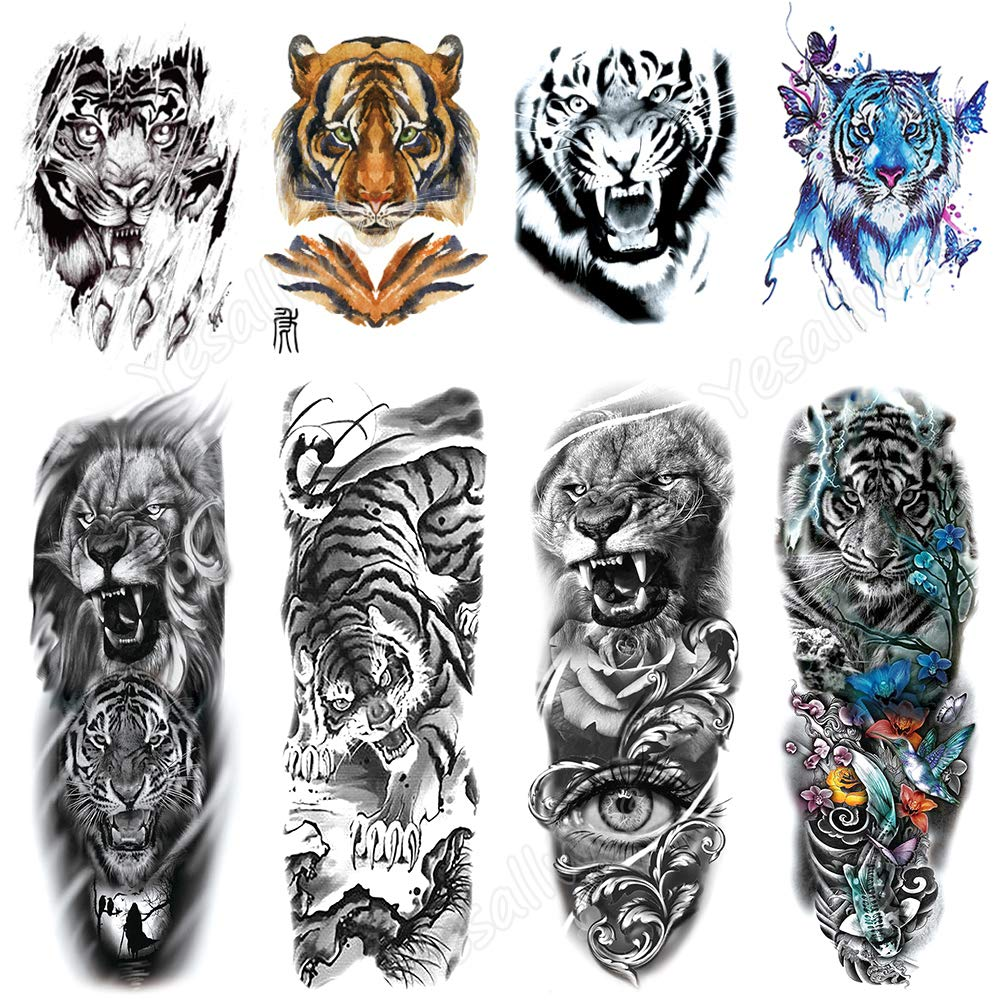 Yesallwas Tiger Lion Temporary Tattoos, Fake Arm Leg Extra Large Temporary Tattoos Body Art For Men And Women