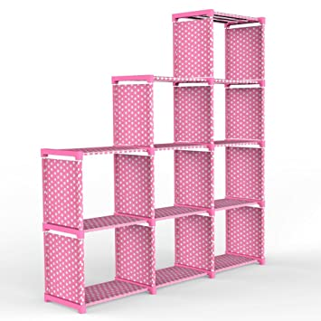 Amazon.com: 4-tier Storage Cube Closet Organizer Shelf, DIY 9-cube ...