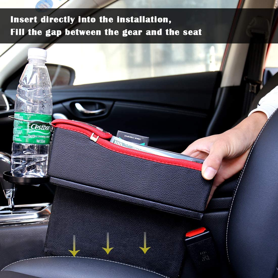 Car Interior Accessories Passenger Seat-Right Side, Black Maodaner Universal Car Seat Gap Filler Premium PU Leather Side Pocket Organizer Seat Crevice Storage Box with Cup Holder for Smartphone Coin Wallet Key