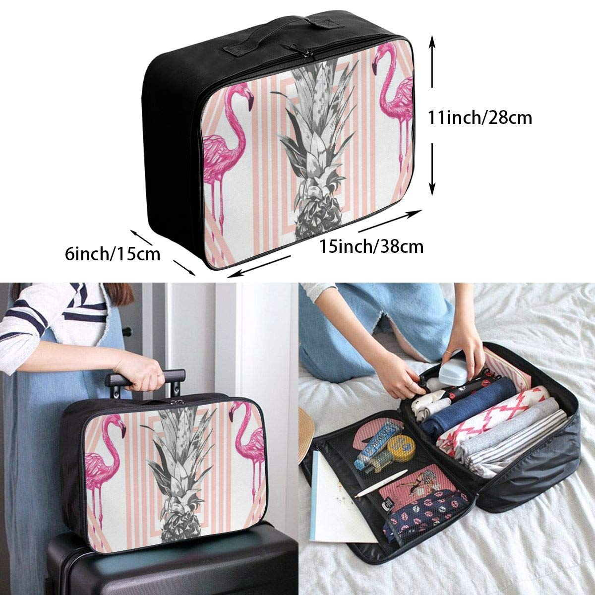 Travel Bags Two Swans Heart Portable Duffel Trolley Handle Luggage Bag