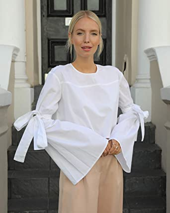 The Drop Camisa blanca con cuello redondo y mangas acampanadas con lazada para mujer por @leoniehanne: Amazon.es: Ropa y accesorios