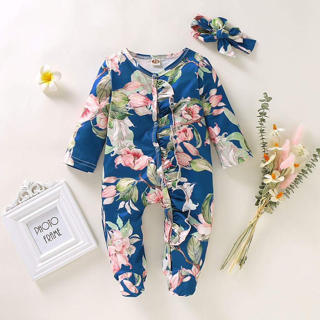 Newborn Infant Baby Girl Boy Footed Sleeper Romper Headband Clothes Outfits Set