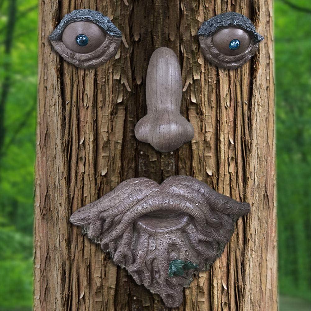 Claratut Glass Bead Eyes Tree Face Decor, Whimsical Tree Peeker Yard Art Garden Decorations, Old Man Tree Hugger Outdoor Sculptures