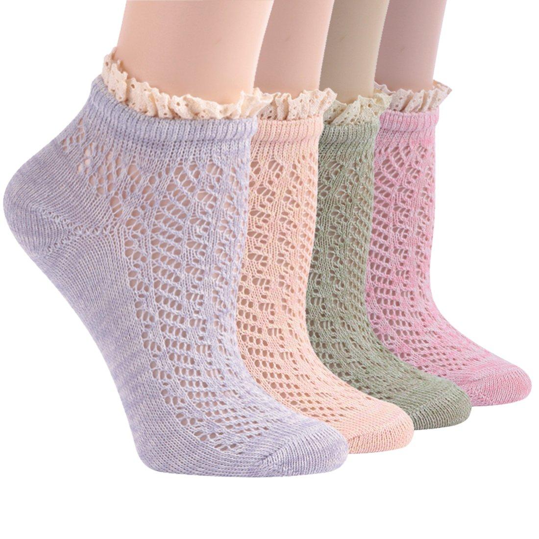 Lady's Lace Socks, Socks Daze 4 Pack Elegant Crochet Lace Trim Cotton Knit Crew Socks for Summer