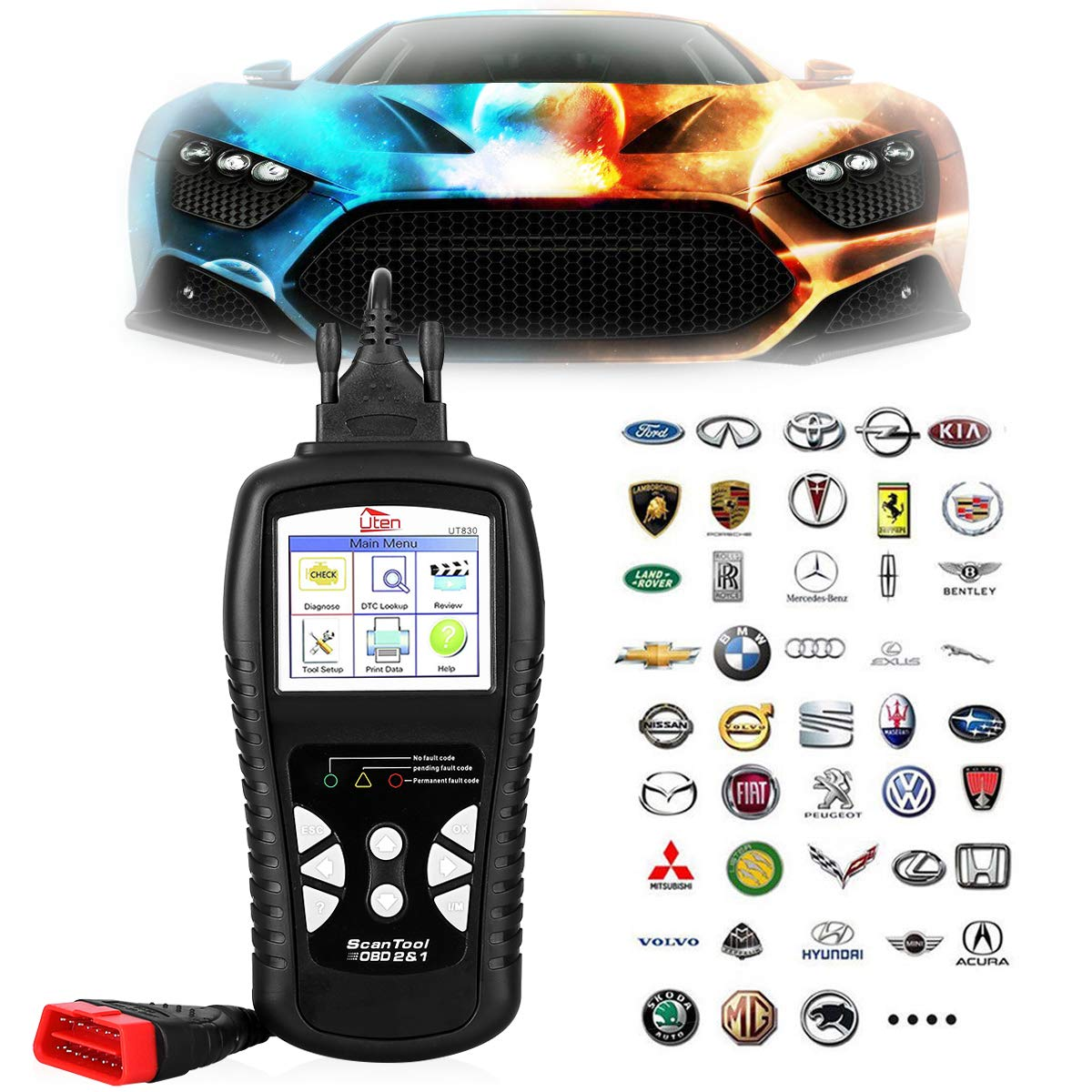 OBD2 OBDII EOBD Automotive Scanner, Diagnostic Code Reader for Vehicle Engine Fault O2 Sensor System Scan Tool Since 1996 - Black (KW830)