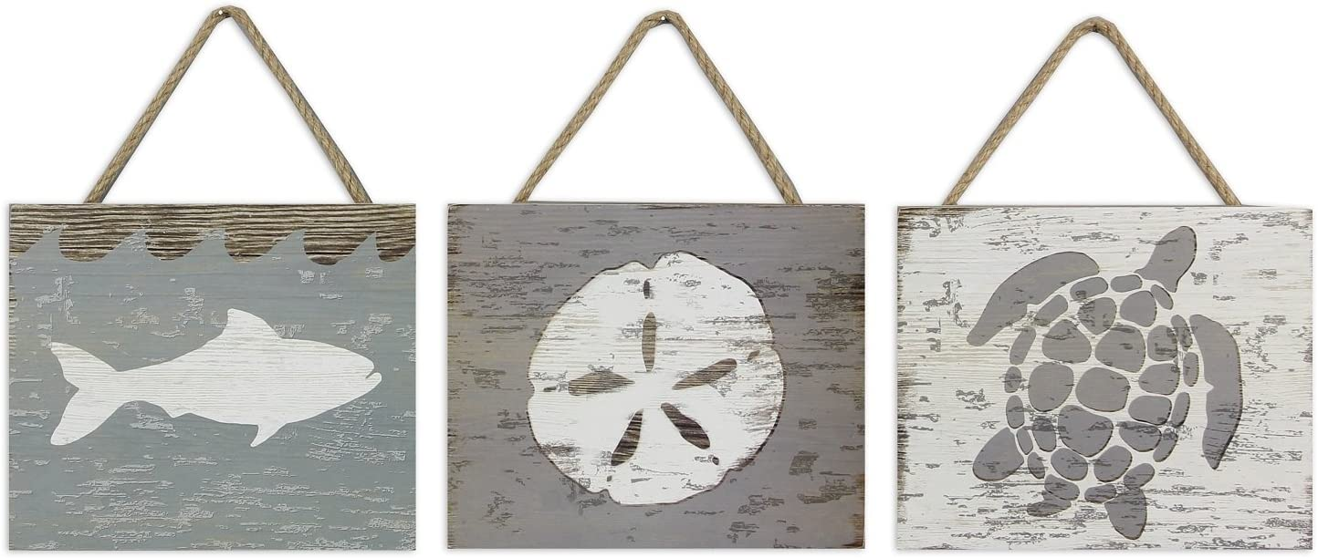 Amazon Com Sand Dollar Fish And Sea Turtle Wood Box Wall Signs 8 Inches Set Of 3 Home Kitchen