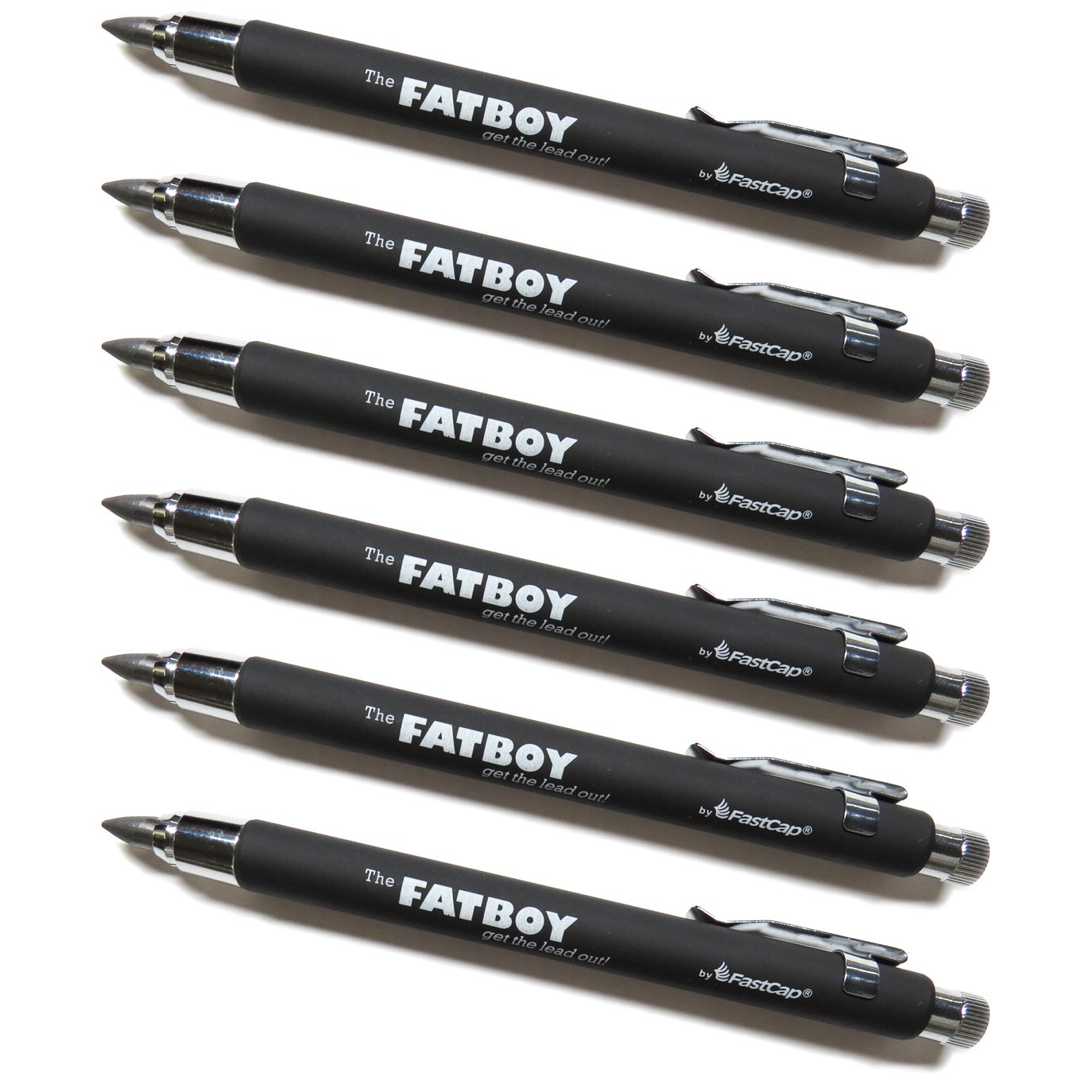 FastCap Fatboy Extreme Carpenter 5.5mm Mechanical Pencils with Clip, 6-Pack