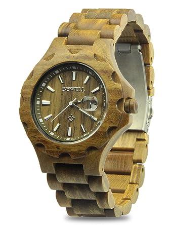 d29328e226 YFWOOD 木製腕時計 メンズ 人気 腕時計 優しい木の温もりを生かした腕時計 カレンダー付き