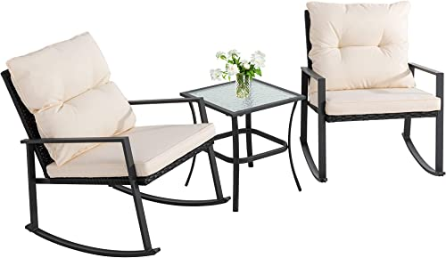 Walsunny 3 Pieces Patio Set Outdoor Wicker Patio Furniture Sets Modern Rocking Bistro Set Rattan Chair Conversation Set