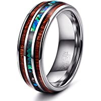 Yadoca 1 Pcs 8 mm Natural Abalone Shell & Hawaiian Koa Wood Tungsten Carbide Ring for Men Wedding Ring Size 7-14