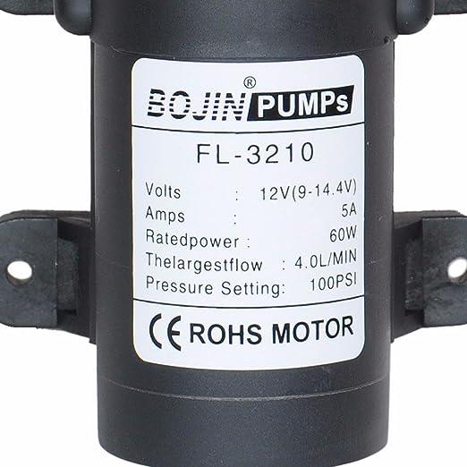 DC12 V 100PSI 4L/M agua alta presión diafragma bomba de cebado automático pumpcaravan/barco/RV/jardín: Amazon.es: Deportes y aire libre