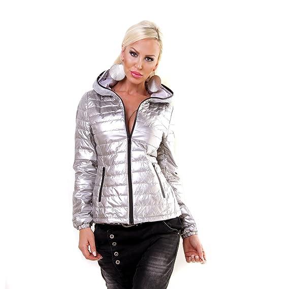 bdbdfef2a26dce Damen Steppjacke Pailletten Kapuze Übergangsjacke Glanz Metallic Jacke  silber M: Amazon.de: Bekleidung