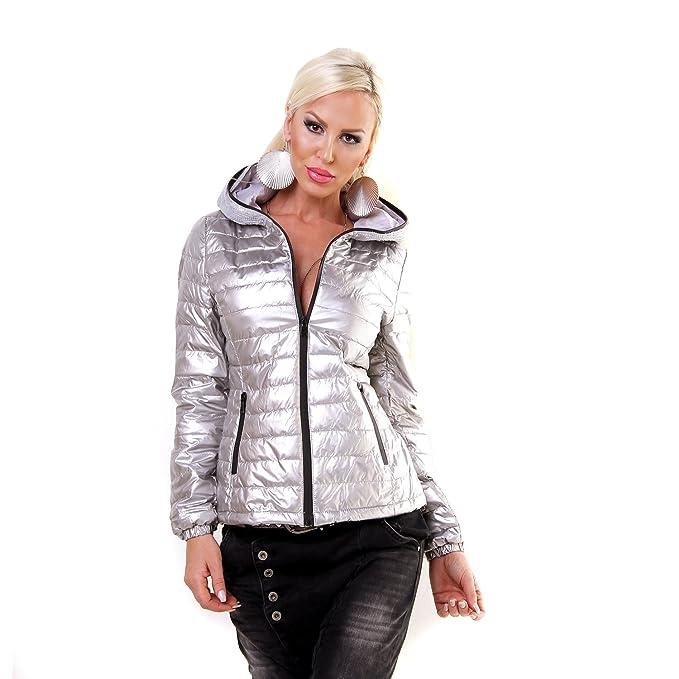 Fashion Pailletten Damen Übergangsjacke Steppjacke Kapuze oWEdBeQCrx