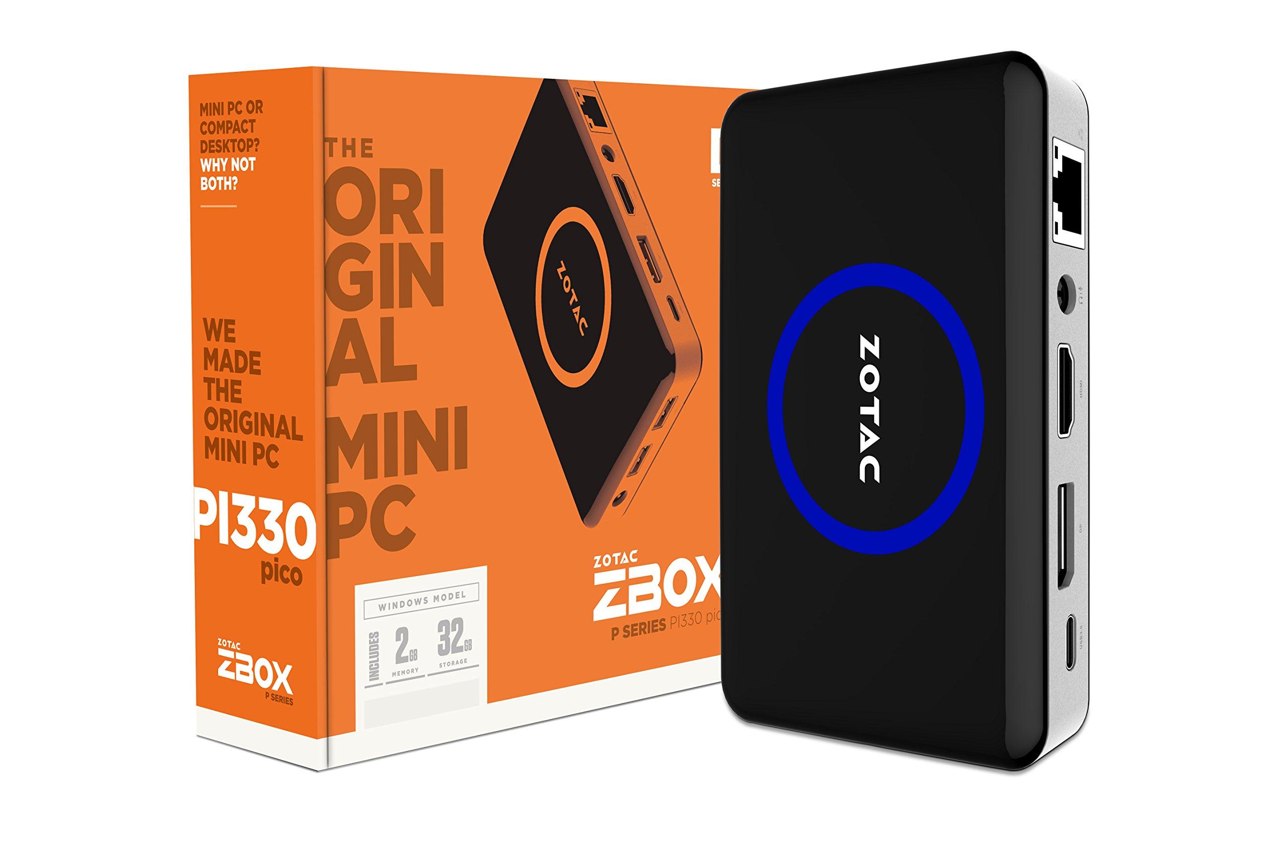 Zotac ZBOX-PI330-W2B Intel Atom x5-Z8500 1.44GHz/ 2GB LPDDR3/ 32GB emcee/ No ODD/ Windows 10 Home Mini PC