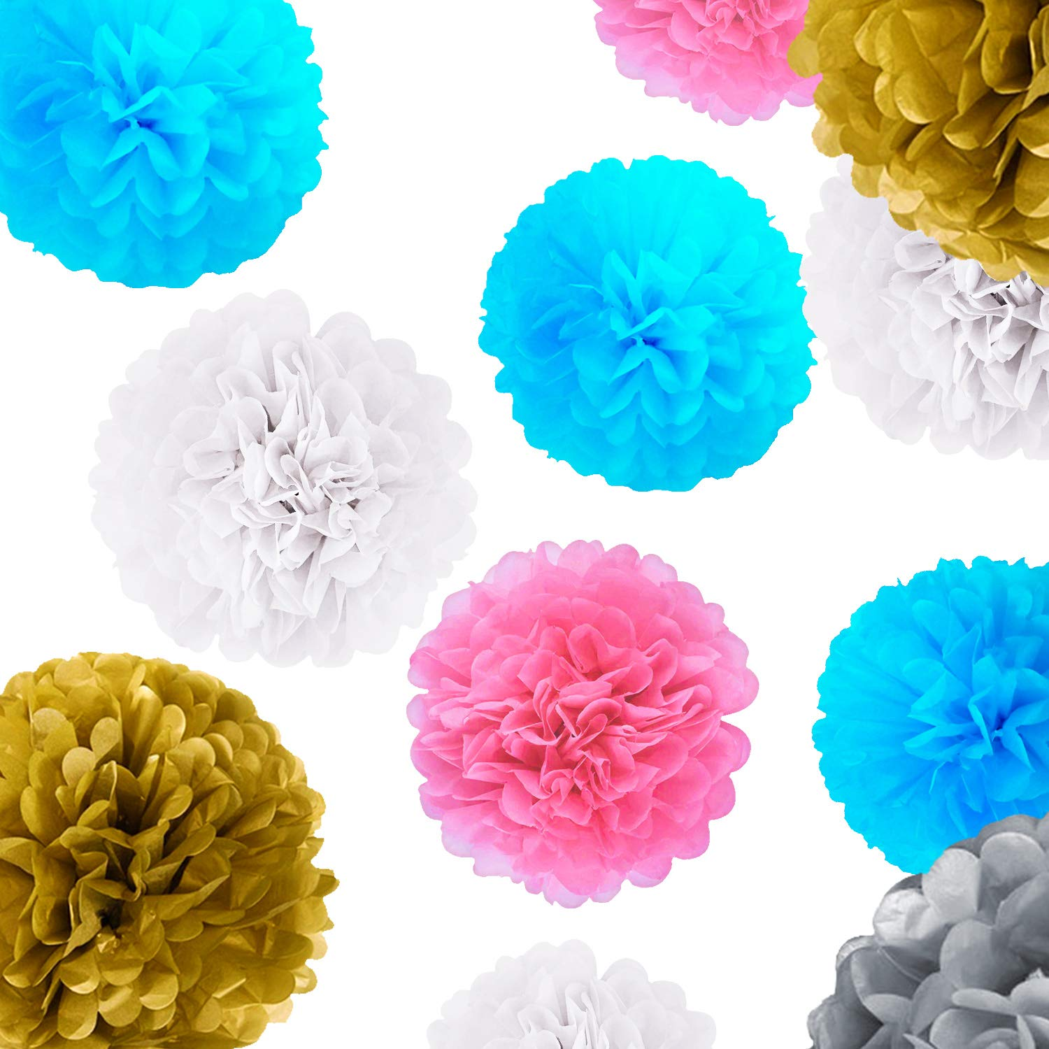 Blue 'N Blum Tissue Paper Pom Poms Decorations - Paper Flower - Party Decoration - Banner Happy Birthday for Party - Baby Shower - (12 pcs 12'' 10'' 8'' 6'') Gold Silver White Light Blue Light Pink by BLUE 'N BLUM