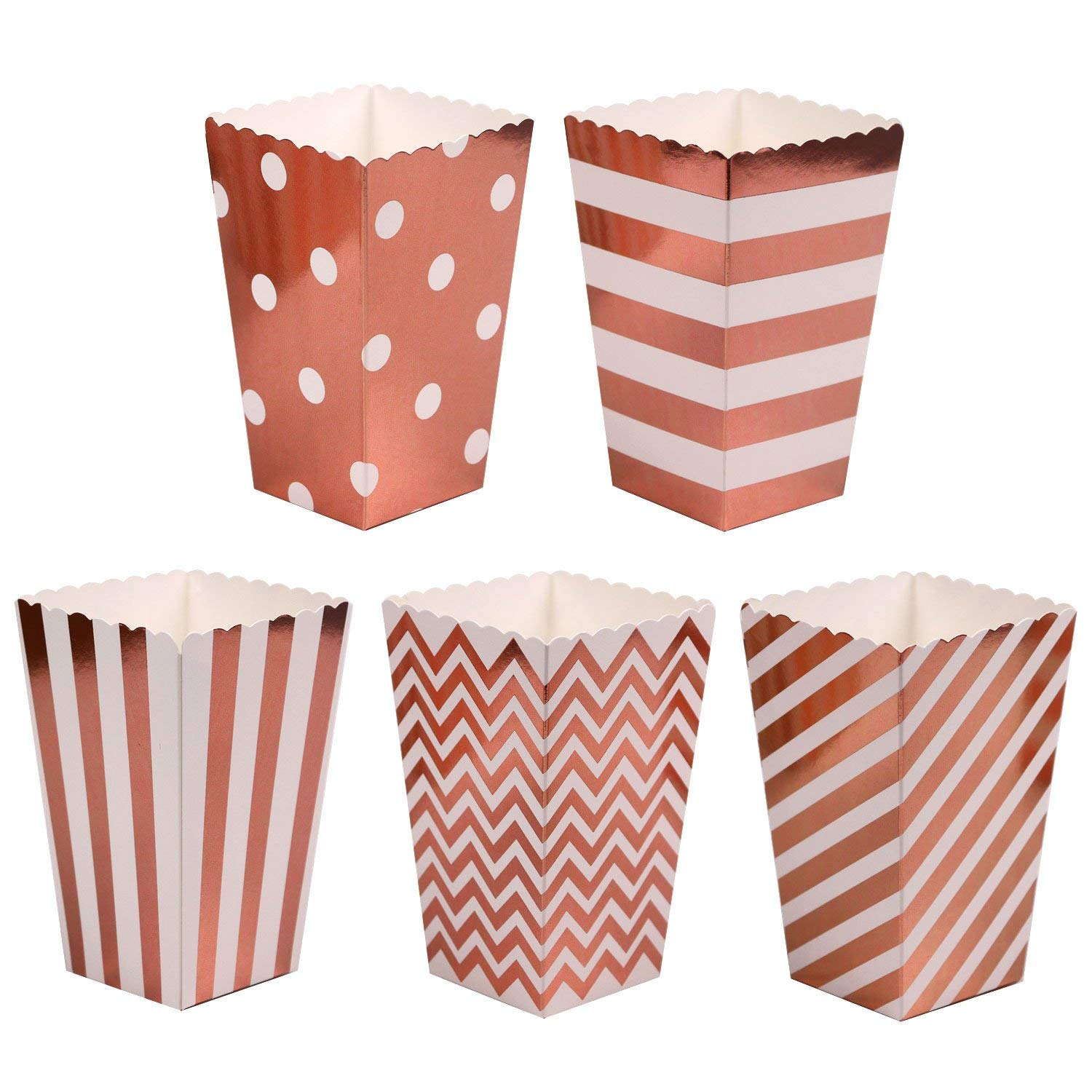 Mini Poprcorn Boxes 100 Pack Rose Gold Paper Popcorn Snack Containers Treat Box for Wedding Party Bridal Shower Birthday Movies by BALANSOHO (Image #1)